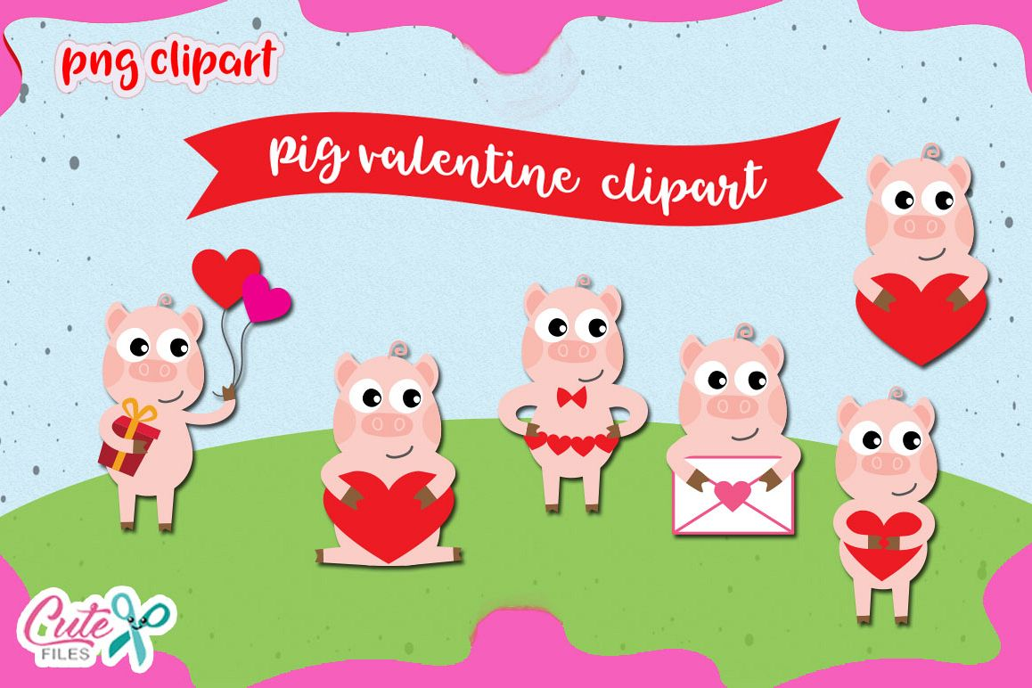 Pig Love Clipart set, valentine animals cliparts.