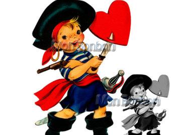 Valentine Pirate Kid Clip Art.