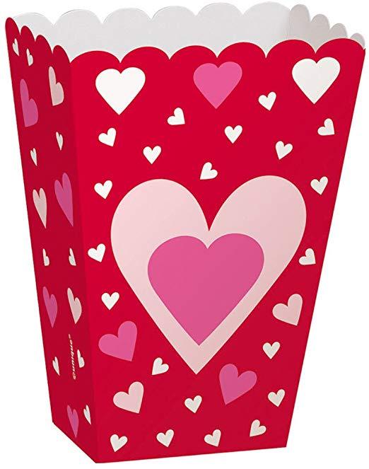 Heart Valentine\'s Day Popcorn Treat Boxes, 6ct.