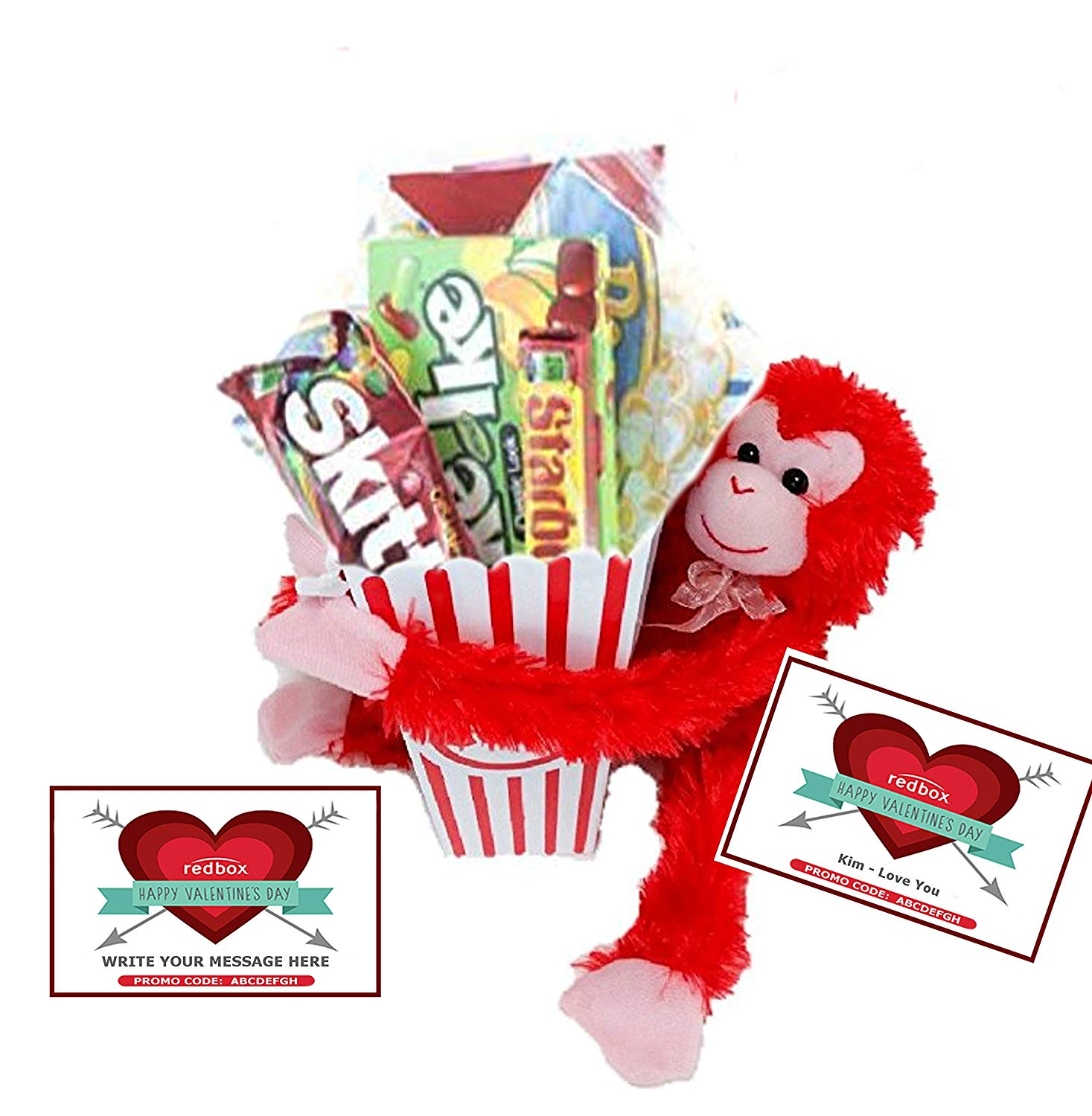 Happy Valentine\'s Day Movie Night Gift Basket ~ Movie Butter Popcorn,  Candy, Adorable Stuffed.