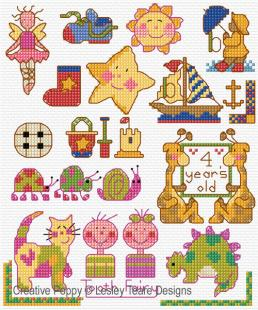 Motifs for Tiny toddlers, cross stitch pattern, by Lesley Teare Designs.