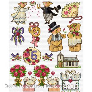 Motifs Wedding Day, cross stitch pattern, by Lesley Teare Designs.