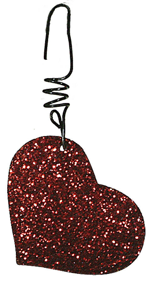 NEW~s/12 Red Glitter Hearts~VALENTINE\'S Day~Feather Tree Ornaments~Prim By  Kathy.
