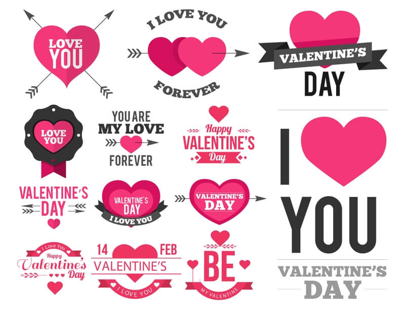 Valentine labels templates printable for 14 february clipart.