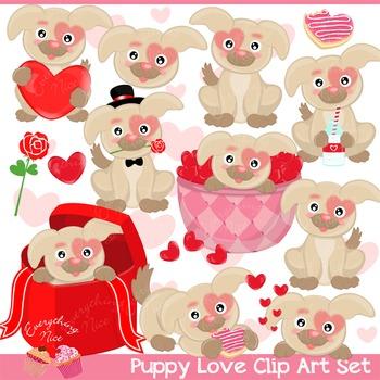 Puppy Love Valentine Puppies Dogs Clipart Set.
