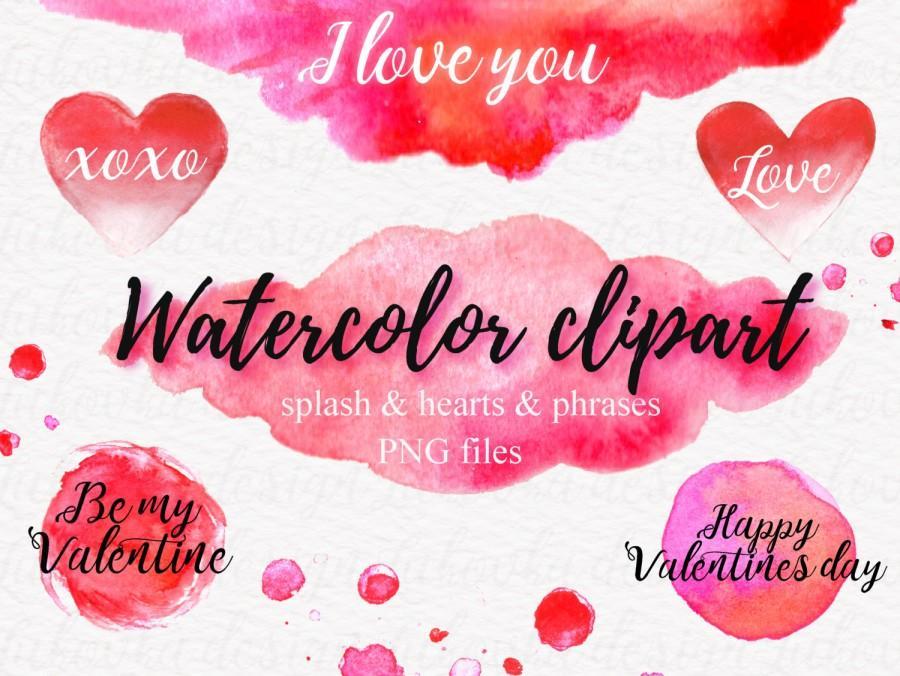 Watercolor Splash Hearts Digital Watercolor Valentine.