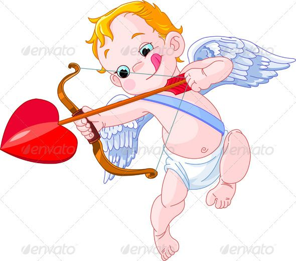 Illustration of a Valentines Day Cupid ready to shoot his.