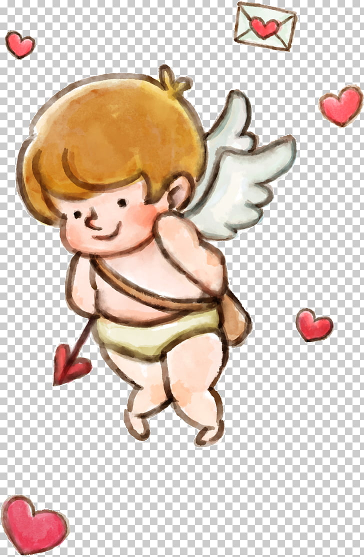 Cupid, Valentines Day love little angel PNG clipart.