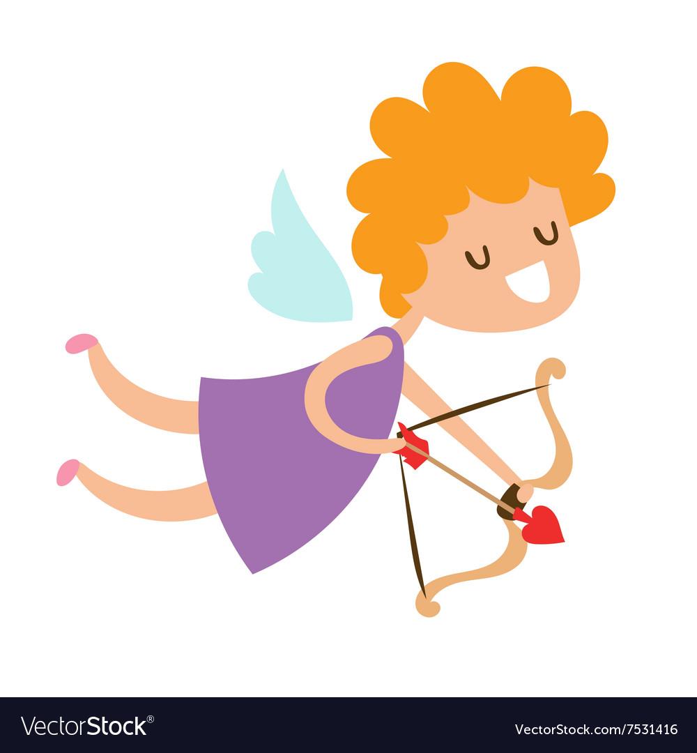 Valentine Day cupid angel cartoon style.