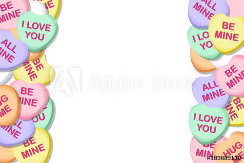 Valentines Day Candy Hearts Vector Background Border 2.