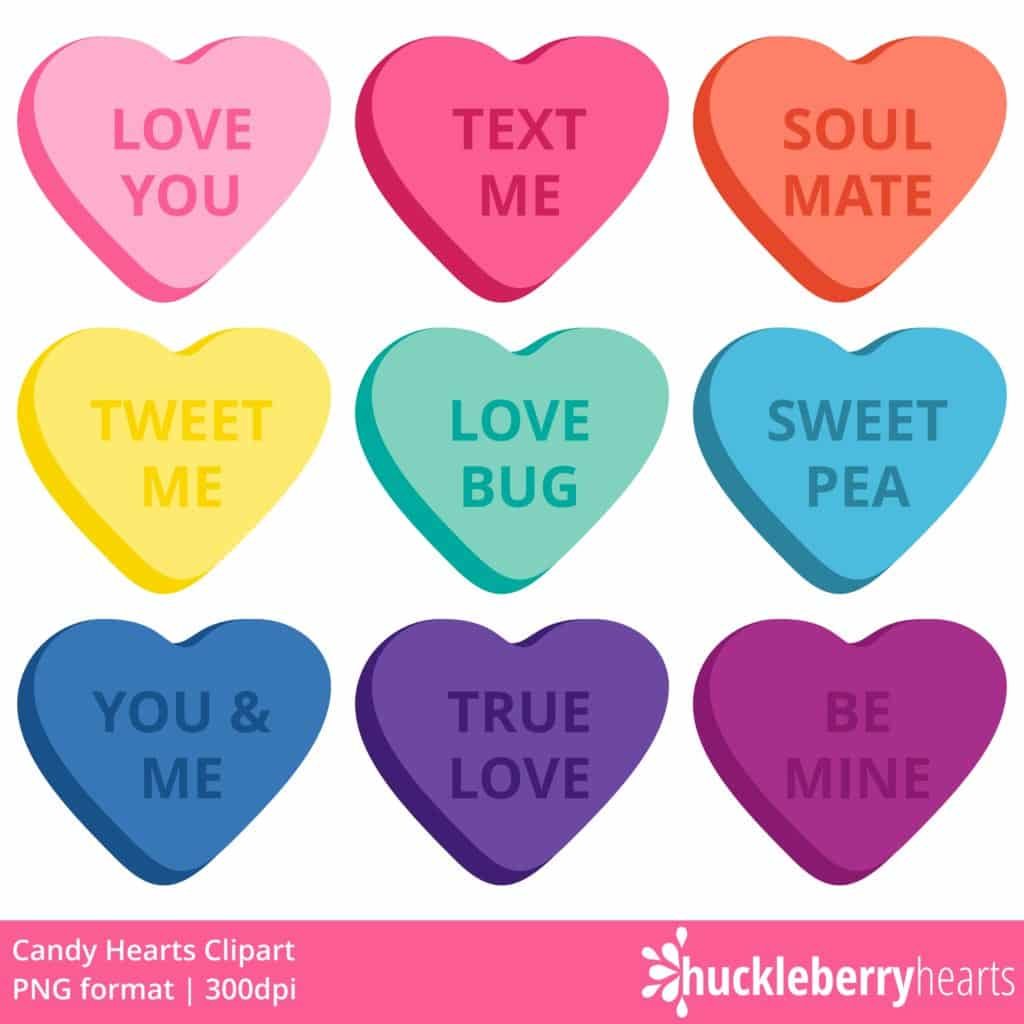 Candy Hearts Clipart.