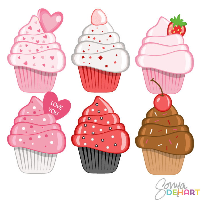 Vector Clip Art Valentines Day Cupcakes.