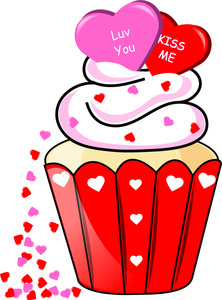 Valentines day cupcakes Clip Art.