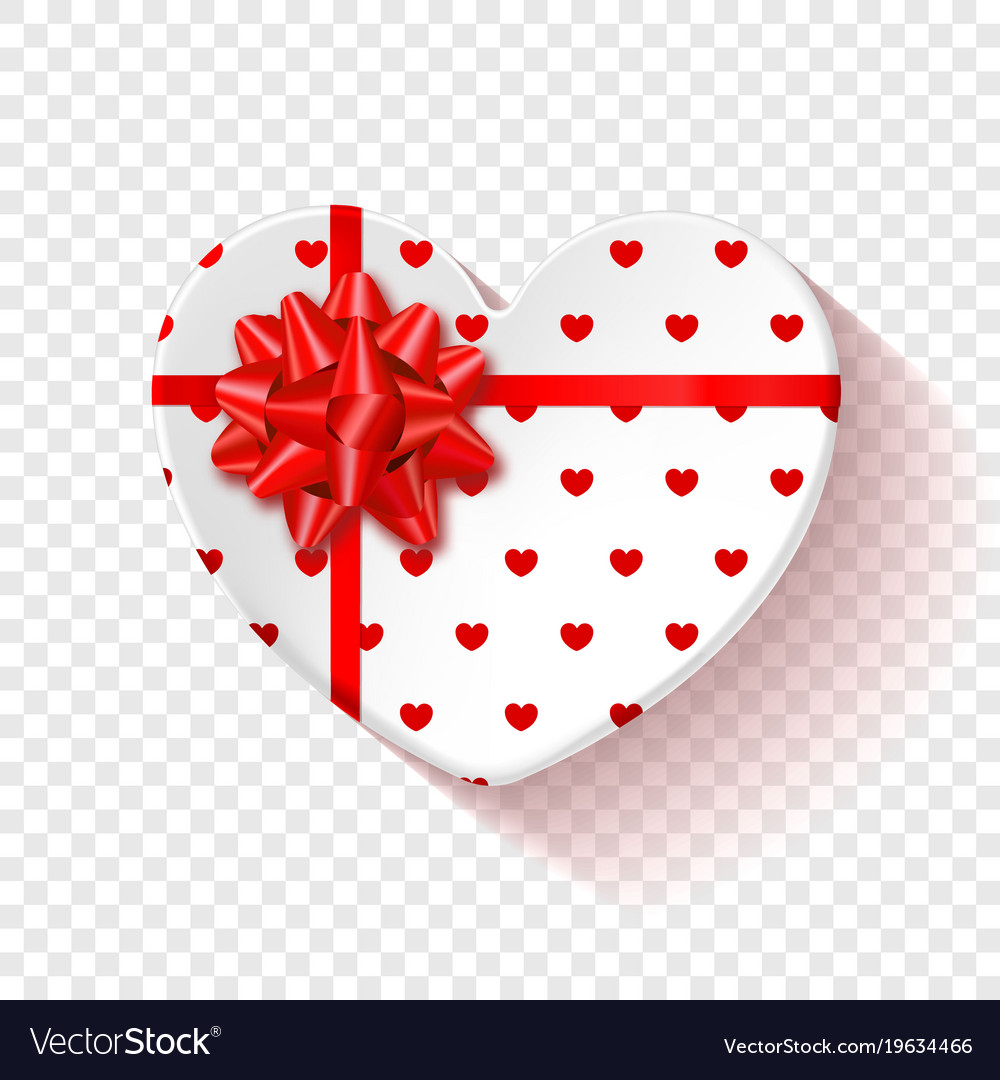 White gift box for valentines day heart box with.
