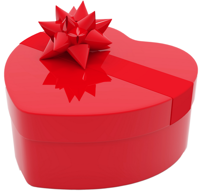 Valentines Day Heart Gift Box PNG Clipart Picture.