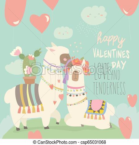 Cartoon mexican white alpaca llamas couple with hearts balloons. Happy  Valentines day.