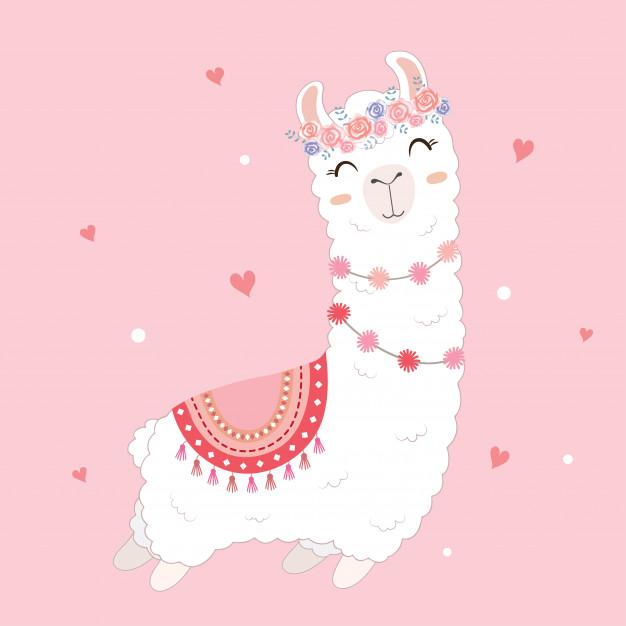 Valentine\'s day card featuring a cute llama. Vector.