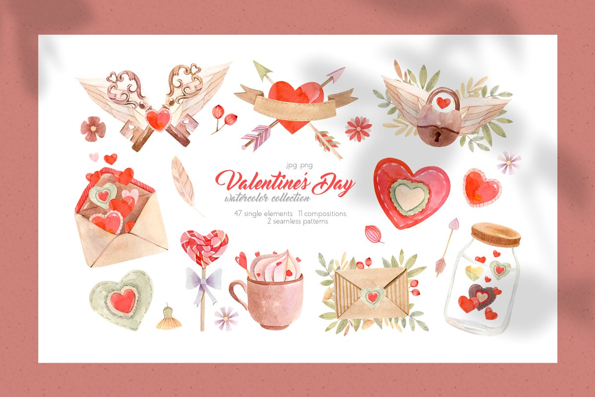 Valentines Day Watercolor Collection.