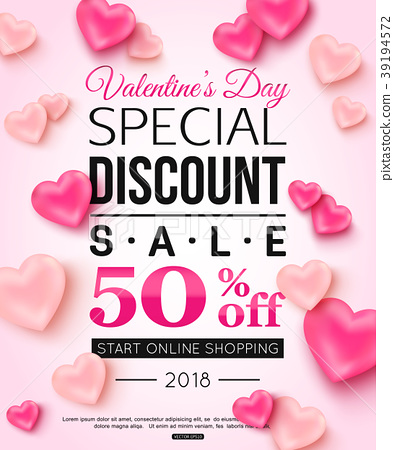 Valentines day special discount sale with balloons.