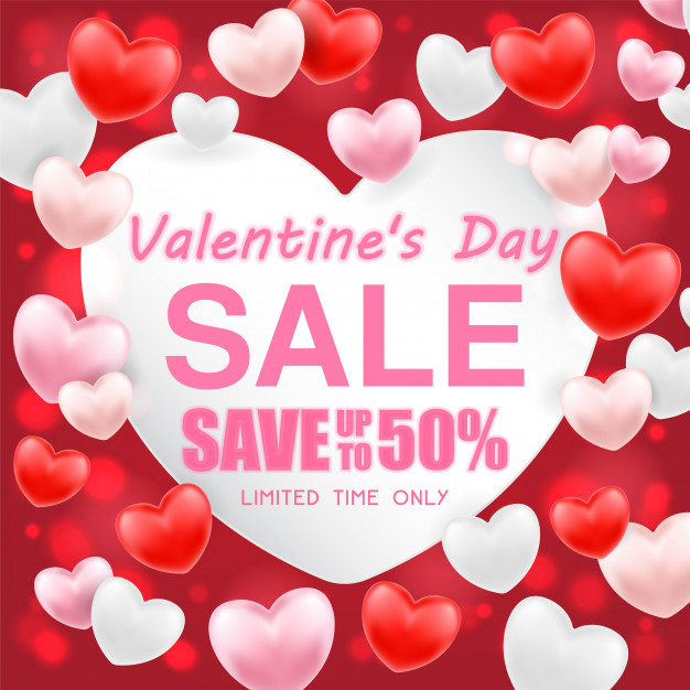 Valentines day shopping sale greeting card banner Vector.