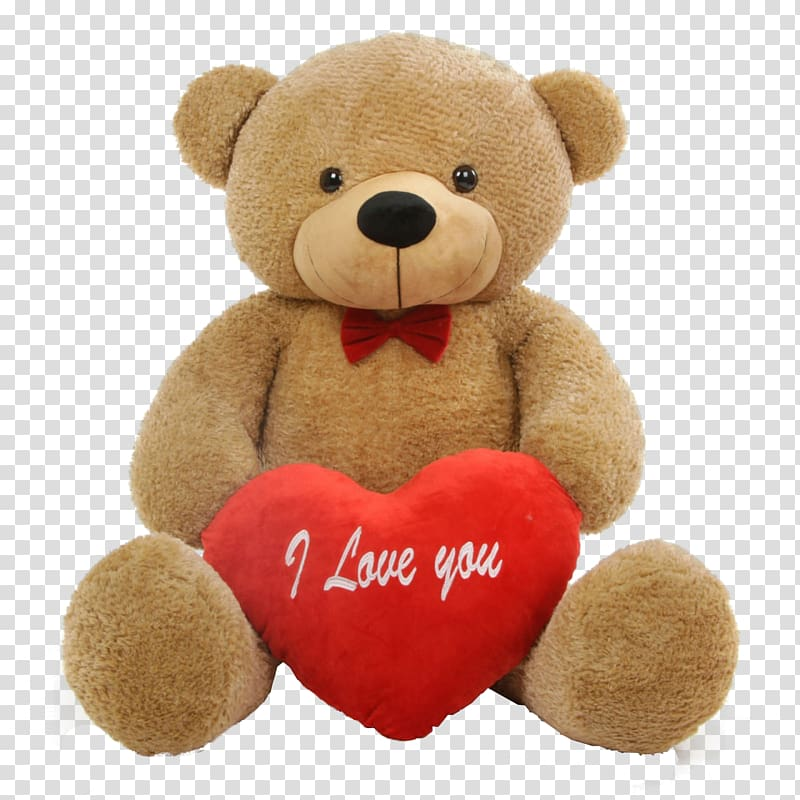 Brown and red bear plush toy, Teddy bear Valentine\\\'s Day.