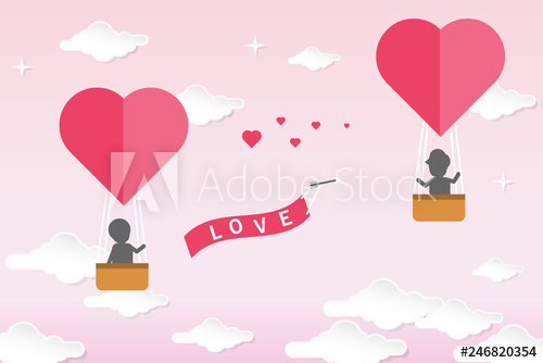 Valentines day background in paper cut style design. A.