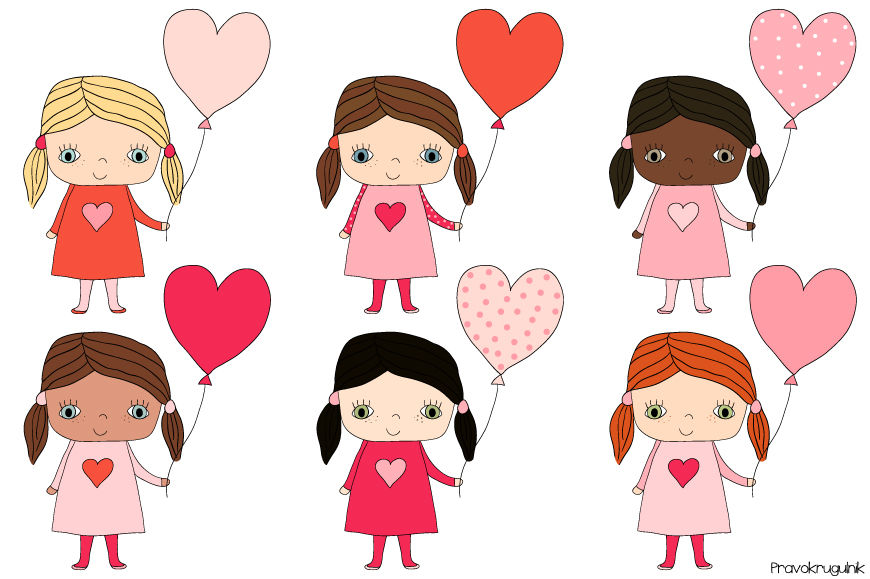 Cute girls clipart, Kawaii girl clip art set, Valentine.