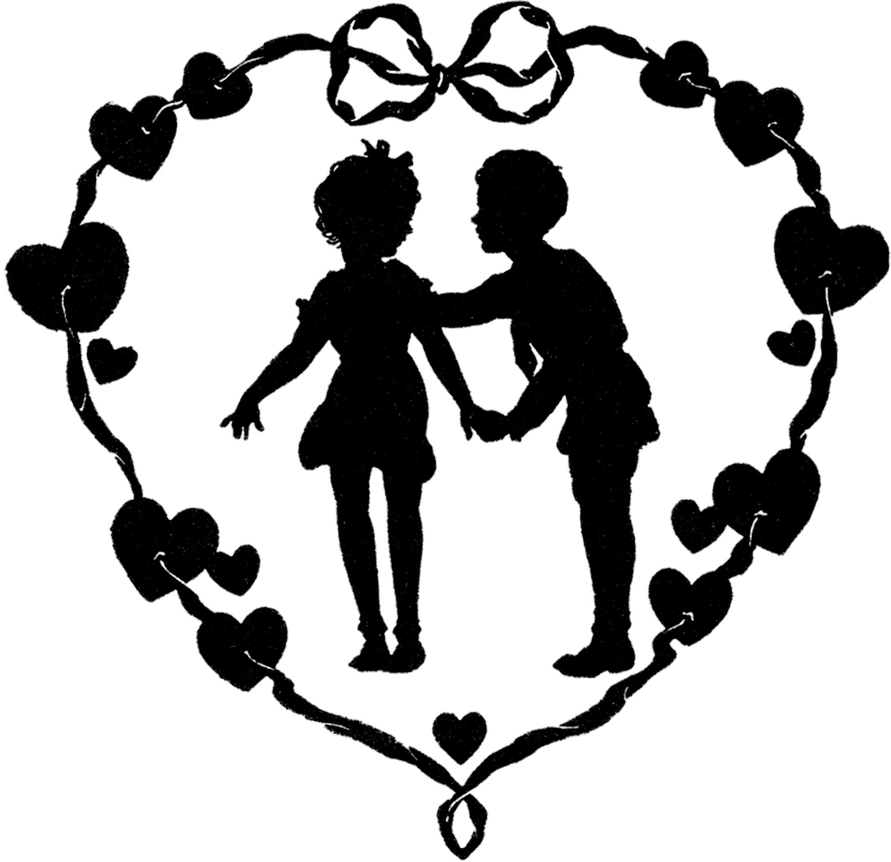 12 Vintage Valentine Silhouettes!.