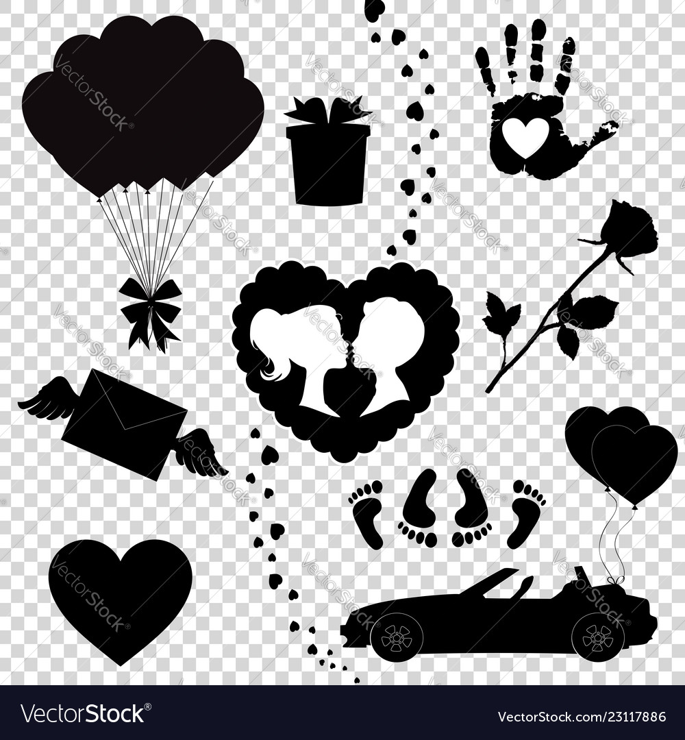 Happy valentine day black icons silhouette set.