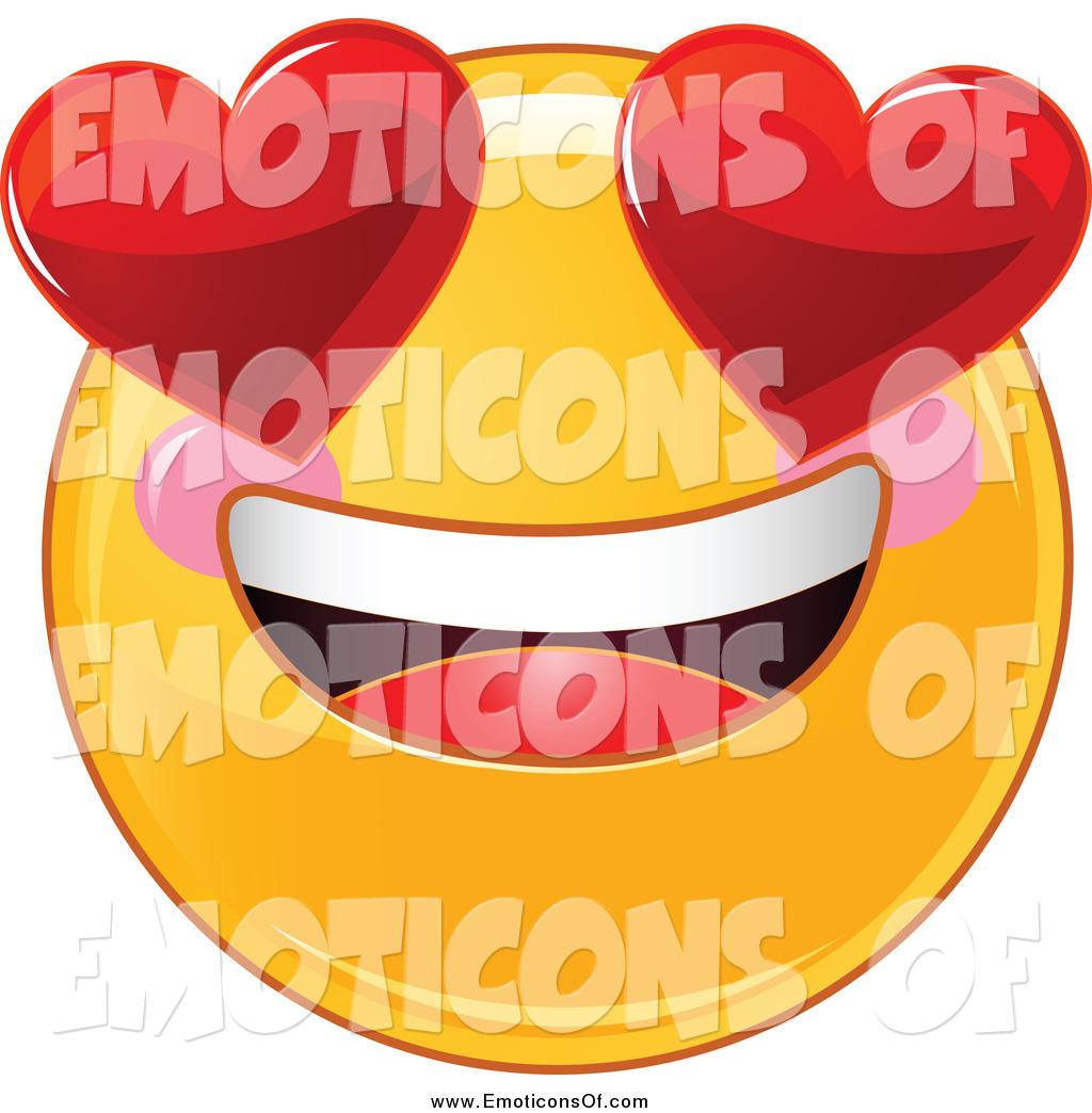 Clip Art Vector of a Valentine Smiley Emoticon with Big.