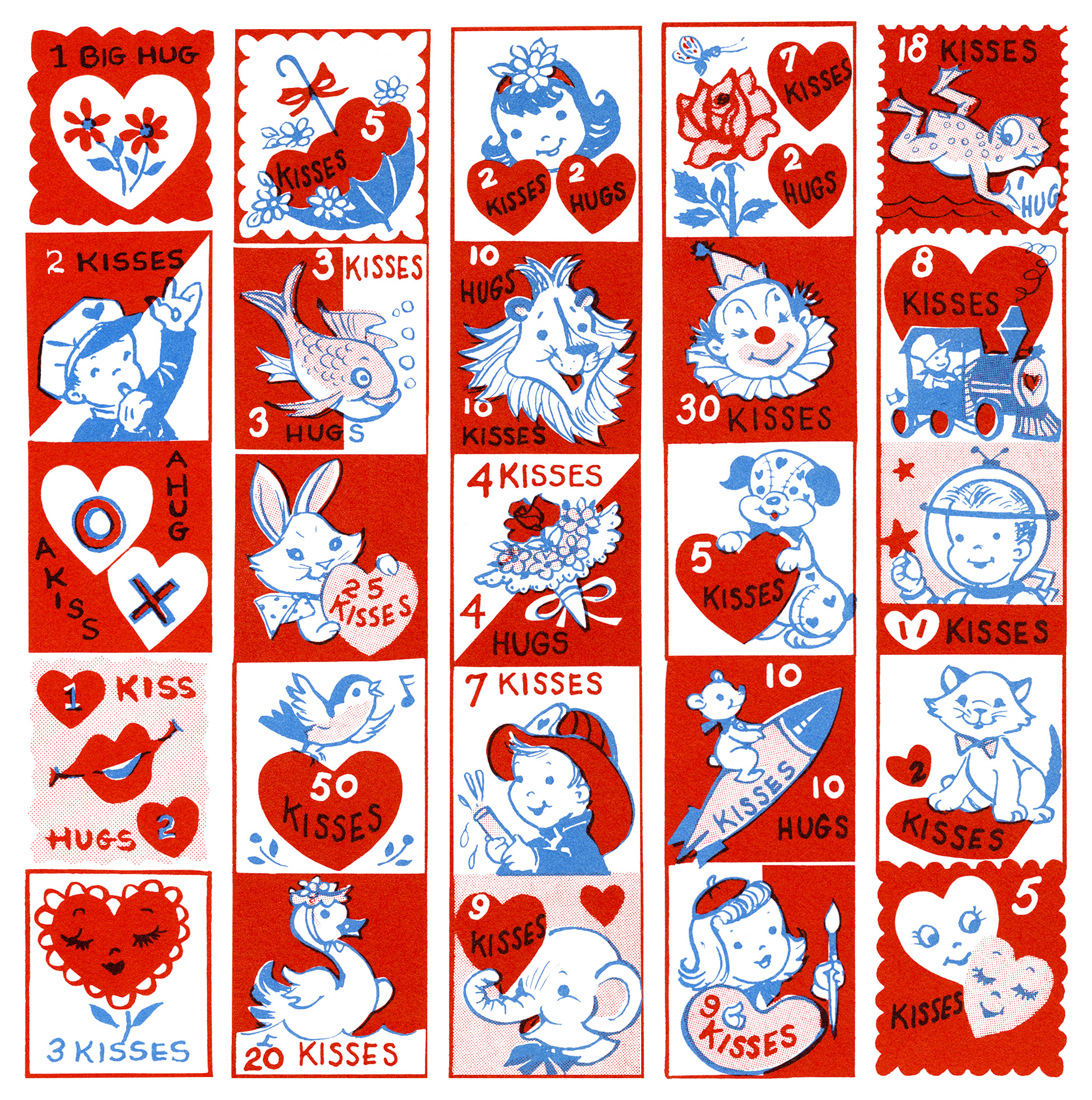 Free Vintage Clip Art Valentine Stamps.