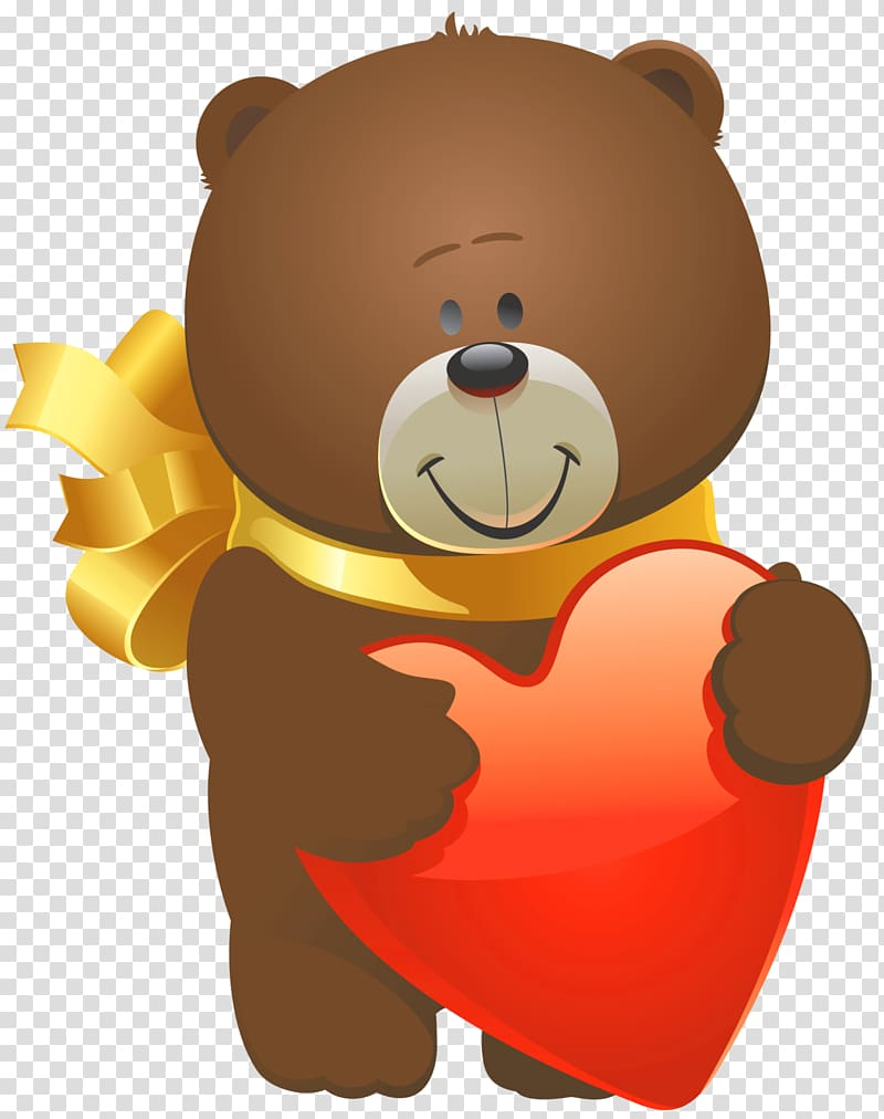 Brown bear illustration, Teddy bear Valentine\\\'s Day Heart.
