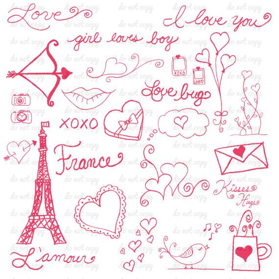 Valentines Day Love Photoshop Brushes France Eiffel Tower.
