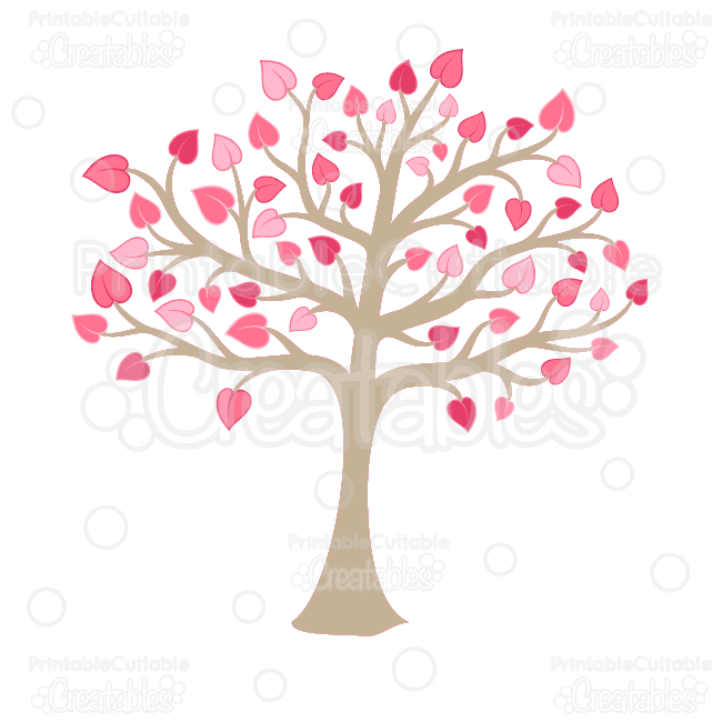Valentine\'s Heart Tree Clipart and SVG Cut Files.