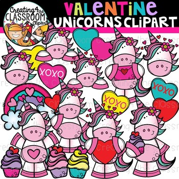Valentines Unicorn Clipart {Valentines Day Clipart}.