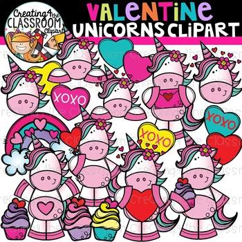 Valentines Unicorn Clipart {Valentines Day Clipart}.