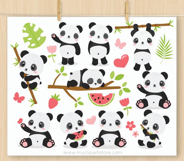 Panda Bears Clipart.