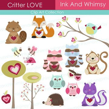 Clipart, Forest Critter Love , Valentine, INSTANT DOWNLOAD.