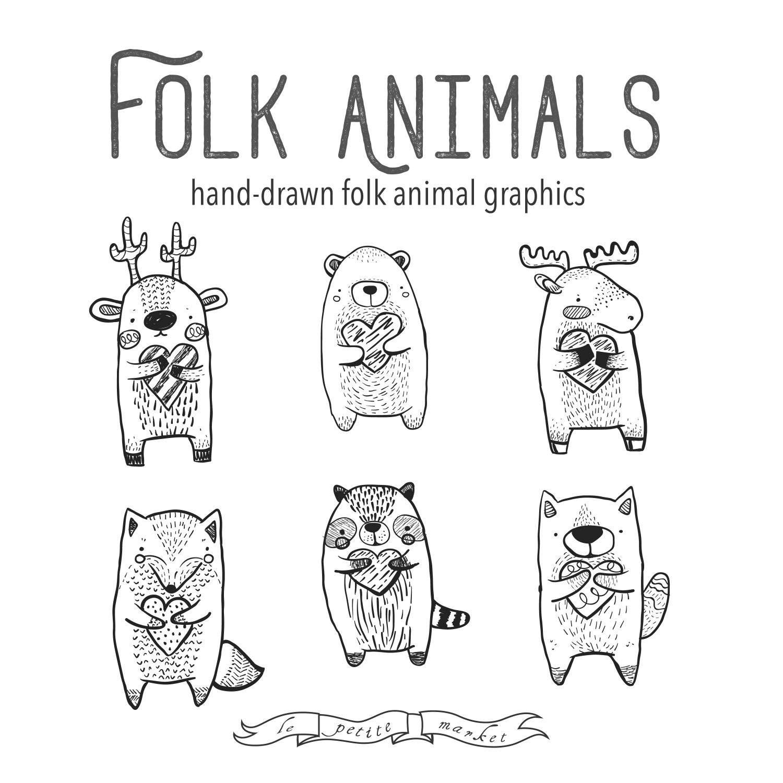 Valentine Woodland Clipart Animals, instant download clip.