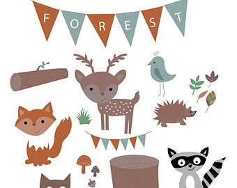 Forest animals clip art, whimsical woodland creatures clip.