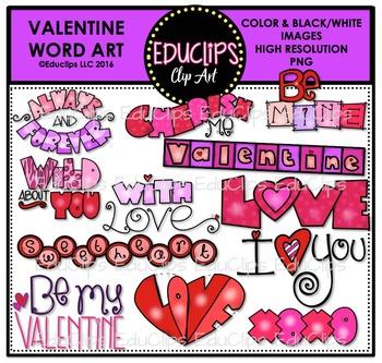 Valentine Word Clip Art Bundle {Educlips Clipart}.