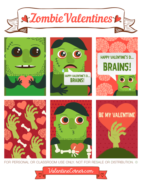 Free printable zombie Valentine cards. Download the Valentines in.