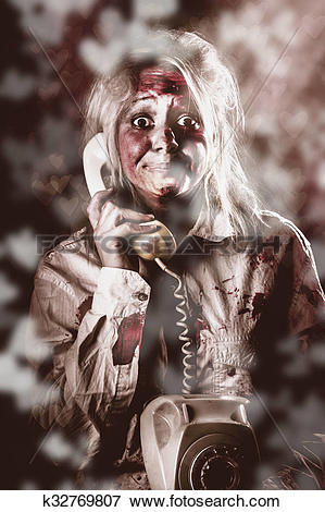 Picture of Zombie girl making phone call to dead valentine.