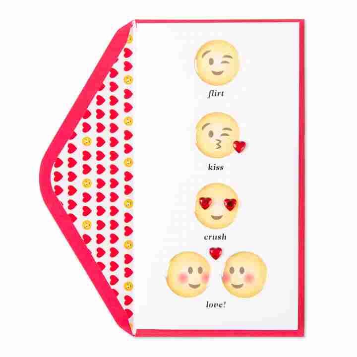 Love Story in Emojis Valentine Card.