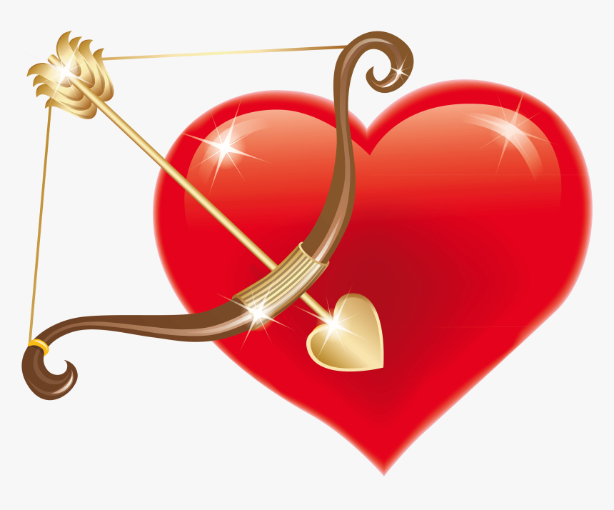 Red Heart With Cupid Bow Png Clipart Picture.