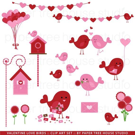 Valentine Clip Art. Valentine Love Birds. Bird Clip Art.