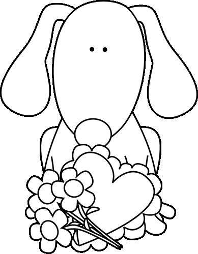 Black and White Valentine's Day Dog Clip Art.
