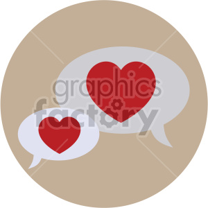 valentines chat bubbles vector icon on brown background . Royalty.