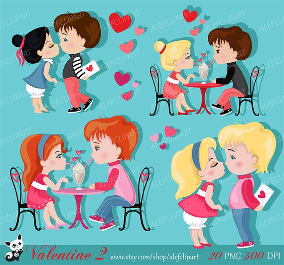 Valentine kids clipart 2 , My Cute Valentine, digital clip.