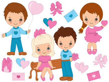 Valentines Day Kids Clipart.